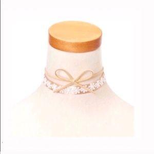 3 piece lace bow choker necklace set
